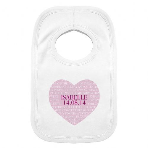 Personalised Sweet Heart 0-3 Months Baby Bib